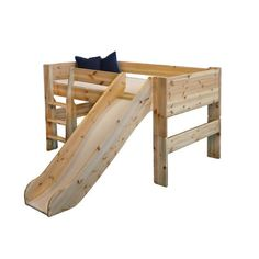 Popsicle Midsleeper Twin Loft Bed with Slide.someone build her this, please? Toddler Bed With Slide, Toddler Loft Beds, Bunk Bed With Slide, Bunk Beds With Stairs, Kids Bunk Beds, Boy Toddler, Loft Spaces, Small Spaces, Cool Kids Bedrooms