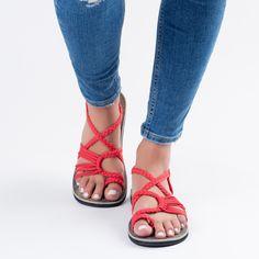 Red Plaka Palm Leaf Sandals  #handmade #sandals #summer #fashion
