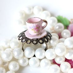 Pink China Teacup Ring by thecottagemarket on Etsy, $5.00
