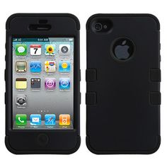 Black High Impact Armor Hard & Soft Rubber Case Cover for iPhone 4 4S