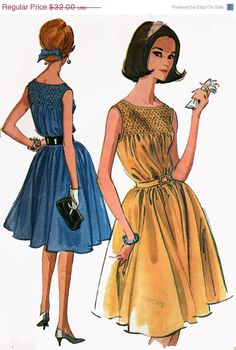ON SALE 1960s McCalls 6614 Womens Mad MenSleeveless Smocked bodice Dress with Flared Skirt 60s Vintage Sewing Pattern Size 14 Bust 34 UNCUT by sandritocat on Etsy