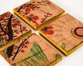 Asiatique inspiré Art Vintage boisson sous-verres Antique sous-verres en bois recyclé naturel décor décor rustique de ménage accessoires bois