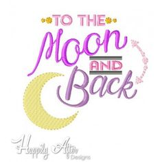 Moon And Back Applique Embroidery Design