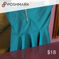 Peplum top Turquoise peplum top front zipper Fashion to Figure Tops