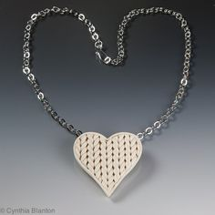 White Faux Knit Heart Pendant or Brooch of Polymer Clay   CynthiaBlanton - Jewelry on ArtFire