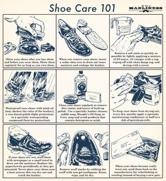The better care you take, the longer they will last! » Shoe Care 101, via The Art of Manliness. Illustration by Ted Slampyak. #shoes