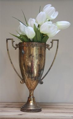 Love antique silver! Unmarked vintage silver trophy cup with handles by mysweetsavannah, $28.00