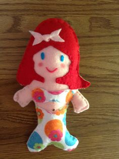 Felt Mermaid softys $6 or 2/$10. Can be ordered with red, blonde, brown or blue hair and green, brown or blue eyes. Shipping is $3. Send your order to LittleBlessingsGifts@Gmail.com and I will contact you.