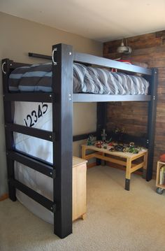 DIY loft bed for 8' ceilings. Made using $75 in materials, not including primer/paint. Plans available for $10.