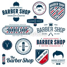 Vecteur : Vintage Retro Style Badges and Logos Barber shop graphics