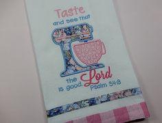 Appliqued Dishtowel, Pastel Kitchen Towel, Spring Decor, Kitchen Decor,Taste & See - Psalm 34:8  ******************THIS ITEM IS READY TO