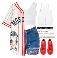 """"""" Moschino """" by fuckedchanel ❤ liked on Polyvore featuring Kye, Moschino, adidas, Ashley Stewart and FuckedChanel"""