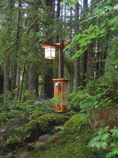 Craftsman lamp post with copper light: