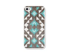 Geometric iPhone 4 Case - Plastic iPhone 4s Case - Wood Tribal Southwest iPhone Case Skin - Turquoise Brown White Cell Phone For Him