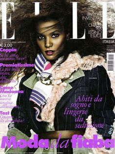 Cover with Liya Kebede January 2010 of IT based magazine Elle Italy from Hearst Magazines Italia Spa including details. Liya Kebede, Fashion Magazine Cover, Fashion Cover, Magazine Covers, Now Magazine, Elle Magazine, Dark Man, Hobo Chic, Magazine Spreads