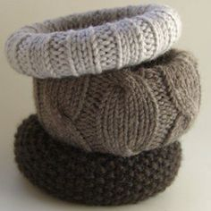 These are wonderful . . . knit to match an sweater or scarf or hat or gloves . . . use up leftover yarn . . . all good!