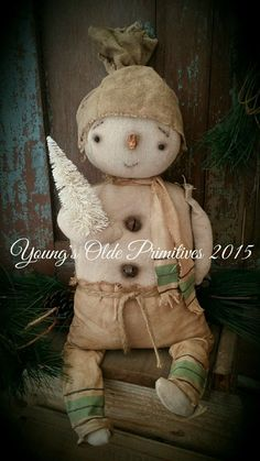 Primitive Snowman Doll Winter Christmas