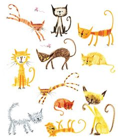 pencil crayon cats by Stella Baggott  from 365 Things to Make and Do by Fiona Watt