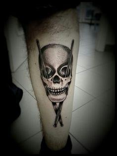 Skull drum tattoo