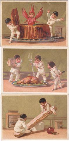 BLACK CAP  PIERROTS - 3 - LIEBIG TRADE CARDS - SAN53FR ISSUED IN 1873-1878 chromos 3