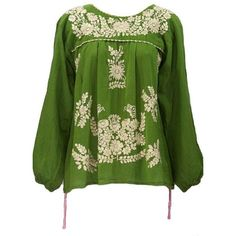 La Mariposa Larga Long Sleeve Embroidered Mexican Peasant Top by Siren... ❤ liked on Polyvore featuring tops, long sleeve tops, green top, women tops, embroidery tops and green peasant top