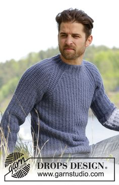 Knitted DROPS men's jumper with textured pattern and raglan in Nepal. Free Aran Knitting Patterns, Knitting Designs, Free Knitting, Knitting Projects, Mens Knit Sweater Pattern, Men Sweater, Drops Design, Twin River, Handgestrickte Pullover