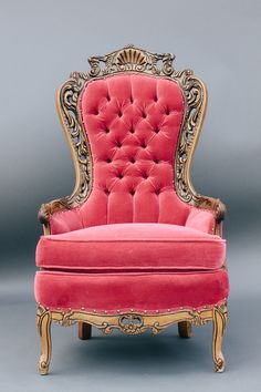 Watermelon Arm Chair | Vintage Carved Velvet Arm Chair