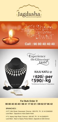 Enjoy the Big Offer of Kajukatli with Jagdusha Sweets &  savories. . .It's time to taste and celebrate the happiness..