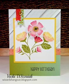 Birthday card with CTMH Happy Times papers and stamp.  by Vicki Wizniuk