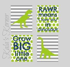 dinosaur nursery wall art decor,dinosaur print set, dinosaur playroom art, 8x10 print set, gray blue green, $36.00 Chevron instead of stripes!