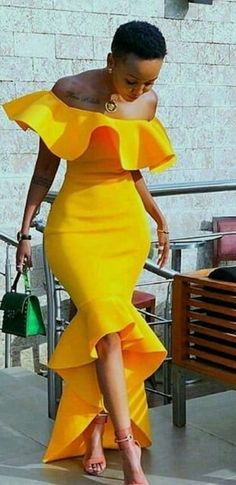 Stunning Yellow Saudi Arabic Mermaid Evening Prom Dress For Black Women Girls Off The Shoulder High Low Mermaid Satin Party Cocktail Dress Evening Dresses Long Sleeves Evening Dresses Online Shop From African Print Fashion, African Fashion Dresses, African Attire, African Dress, African Wedding Dress, Africa Fashion, Elegant Dresses, Sexy Dresses, Cute Dresses