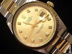 Rolex Datejust Mens Two-Tone Yellow Gold & Stainless Steel Champagne Diamond Mens Rolex Submariner, Rolex Datejust, Rolex Watches For Sale, Luxury Watches For Men, Rolex Diamond Watch, Rolex Watch Price, Rolex Day Date, Rolex Oyster Perpetual
