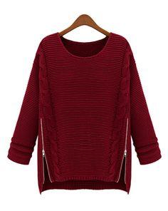 Navy Blue Plain Loose Irregular Wool Blend Sweater