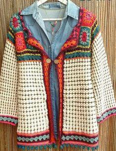 New Crochet Jacket Granny Square Beautiful Ideas Cardigan Au Crochet, Gilet Crochet, Crochet Coat, Crochet Jacket, Crochet Cardigan, Crochet Clothes, Beau Crochet, Pull Crochet, Mode Crochet
