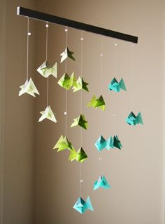 Origami Mobile - School of Caribbean Fish - Hanging Decor - Origami Paper Sculpture - Modern Mobile. via Etsy.