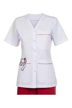 2030 AMBO ABIERTO PERRO COLORADO Cute Scrubs Uniform, Scrubs Outfit, School Pinafore, Stylish Scrubs, Beauty Uniforms, Doctor Coat, Medical Uniforms, Nursing Clothes, Costume