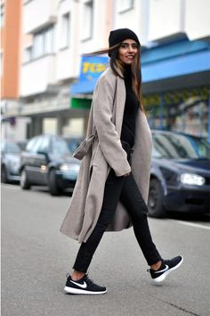 black beanie H&M hat - camel long Zara coat - black turtleneck COS sweater