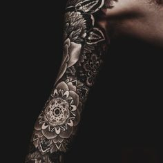 Men's Sleeve Tattoo | Floral, Black Ink