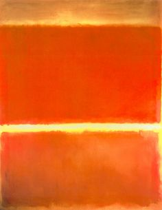 Mark Rothko, Saffron.... my favorite of his. I didn't get this kind of work until I saw this on. I was interested in the glow effect he achieved between the red blocks, so I tried to reproduce it. It was not easy. I came close, I suppose, but I was blown away at how much went into producing this kind of painting. The glow, in my opinion works by juxtopposing lemon yellow with a stripe of white that is tinted ever-so-slightly with violet. The spontaneous contrast causes your eyes to freak out…