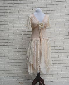 Wedding Dress, Boho, Fairy Woodland, Formal, Tattered, Shabby, Hippie, Gypsy, Eco Earth Friendly, Upcycled Clothing. $130.00, via Etsy.