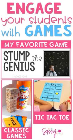 Incorporating games makes your job easier because often kids don't even realize they are working their brains while having fun! Use these ideas with ANY subject, topic or skill! Perfect for small groups, partners or whole group.