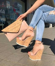 Cork Wedges With Matching Clutch Ankle Strap Wedges, Wedge Sandals, Wedge Shoes, Shoes Heels, Dream Shoes, Crazy Shoes, Me Too Shoes, Platform High Heels, Pretty Shoes