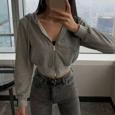 Hoodie Outfit - Double zip long sleeve knit bottoming shirt ladies t-shirt from FE CLOTHING Hipster Outfits, Retro Outfits, Mode Outfits, Cute Casual Outfits, Outfits For Teens, Fall Outfits, Summer Outfits, Fashion Outfits, Womens Fashion