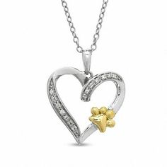 #BFCM #CyberMonday #Zales - #Zales Aspca® Tender Voices® Diamond Accent Heart with Paw Pendant in Sterling Silver and 10K Gold Plate - AdoreWe.com