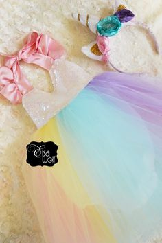 UNICORN theme tulle birthday party romper dress !