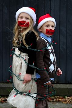 Would you do this to your kids at Christmas? This is such a silly Christmas card idea.