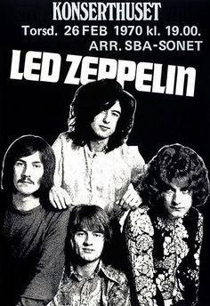 Led Zeppelin - 1970 - Konserthuset - Stockholm Sweden - Concert Poster