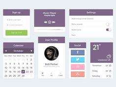 Purple UI Kit - PSD by Maarib Sha