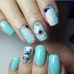 Accurate nails, Blue nail art, Drawings on nails, Exquisite nails, Glossy nails, Ideas of gradient nails, Manicure by summer dress, Nails with gems