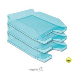 BANDEJA SOBREMESA PLASTICO Q-CONNECT TURQUESA TRANSPARENTE Flatware, Tray, Dessert Tray, See Through, Trays, Turquoise, Cutlery, Tablewares
